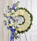 Serene Blessings ™ Blue & White Standing Wreath from Olney's Flowers of Rome in Rome, NY
