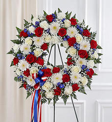 Serene Blessings ™ Red, White, & Blue Standing Wreath from Olney's Flowers of Rome in Rome, NY