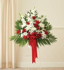 Heartfelt Sympathies ™ Red & White Standing Basket from Olney's Flowers of Rome in Rome, NY
