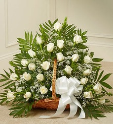 Sincerest Sympathies ™ White Fireside Basket   from Olney's Flowers of Rome in Rome, NY