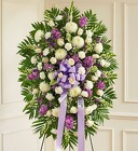 Lavender & White Sympathy Standing Spray from Olney's Flowers of Rome in Rome, NY