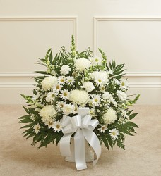 Heartfelt Tribute ™ White Floor Basket from Olney's Flowers of Rome in Rome, NY