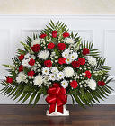 Heartfelt Tribute ™ Red & White Floor Basket from Olney's Flowers of Rome in Rome, NY