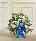 Heartfelt Tribute ™  Blue & White Floor Basket from Olney's Flowers of Rome in Rome, NY