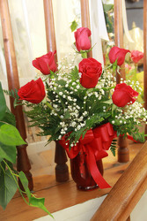 Six Red Roses from Olney's Flowers of Rome in Rome, NY