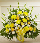Heartfelt Tribute Yellow Floor Basket Arrangement from Olney's Flowers of Rome in Rome, NY
