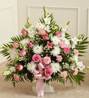 Tribute Pink & White Floor Basket Arrangement from Olney's Flowers of Rome in Rome, NY