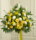 Heartfelt Sympathies Yellow Standing Basket from Olney's Flowers of Rome in Rome, NY