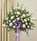 Heartfelt Sympathies Lavender Standing Basket from Olney's Flowers of Rome in Rome, NY