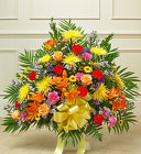Heartfelt Tribute Bright Floor Basket Arrangement from Olney's Flowers of Rome in Rome, NY