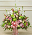 Heartfelt Tribute Pastel Floor Basket Arrangement from Olney's Flowers of Rome in Rome, NY