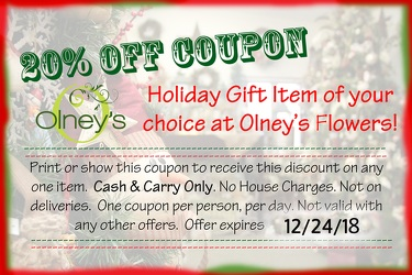 20% Coupon from Olney's Flowers of Rome in Rome, NY