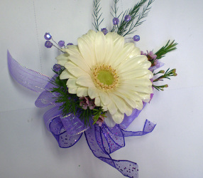 White Gerbera Wrist Corsage from Olney's Flowers of Rome in Rome, NY