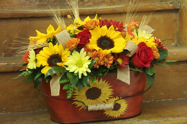 Sunflower Tin from Olney's Flowers of Rome in Rome, NY