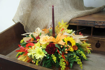 Thanksgiving Hurricane Centerpiece from Olney's Flowers of Rome in Rome, NY