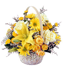 FTD Flourishing Garden Basket - Yellow & White Basket from Olney's Flowers of Rome in Rome, NY