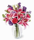 Bright & Beautiful Bouquet - Stargazers & Purple Stock from Olney's Flowers of Rome in Rome, NY