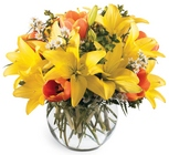 All Is Bright Bouquet - Yellow & Orange Orb from Olney's Flowers of Rome in Rome, NY