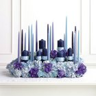 Blue & Lavender Candle Altar Arrangement from Olney's Flowers of Rome in Rome, NY