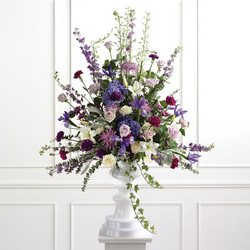 Mixed Lavender Pedestal Arrangement from Olney's Flowers of Rome in Rome, NY