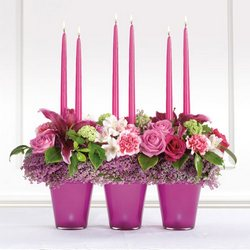 Pink Candle Altar Arrangement from Olney's Flowers of Rome in Rome, NY