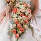 Peach Rose Cascade Bridal Bouquet from Olney's Flowers of Rome in Rome, NY