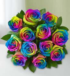 Rainbow Roses from Olney's Flowers of Rome in Rome, NY