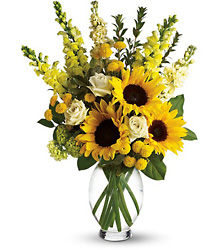 Here Comes The Sun - Yellow Vase w/ Sunflowers from Olney's Flowers of Rome in Rome, NY