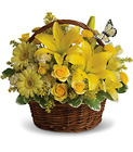 Basket Full of Wishes - All Yellow Basket from Olney's Flowers of Rome in Rome, NY