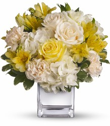 Sweetest Sunrise Bouquet - Yellow & White Mixed Cube from Olney's Flowers of Rome in Rome, NY