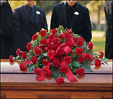Red Regards Casket Spray from Olney's Flowers of Rome in Rome, NY