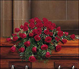 Blooming Red Roses Casket Spray from Olney's Flowers of Rome in Rome, NY